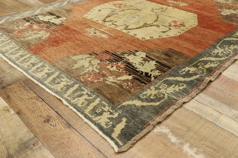 Wool Distressed Vintage Turkish Oushak Accent Rug with Rustic Farmhouse Style