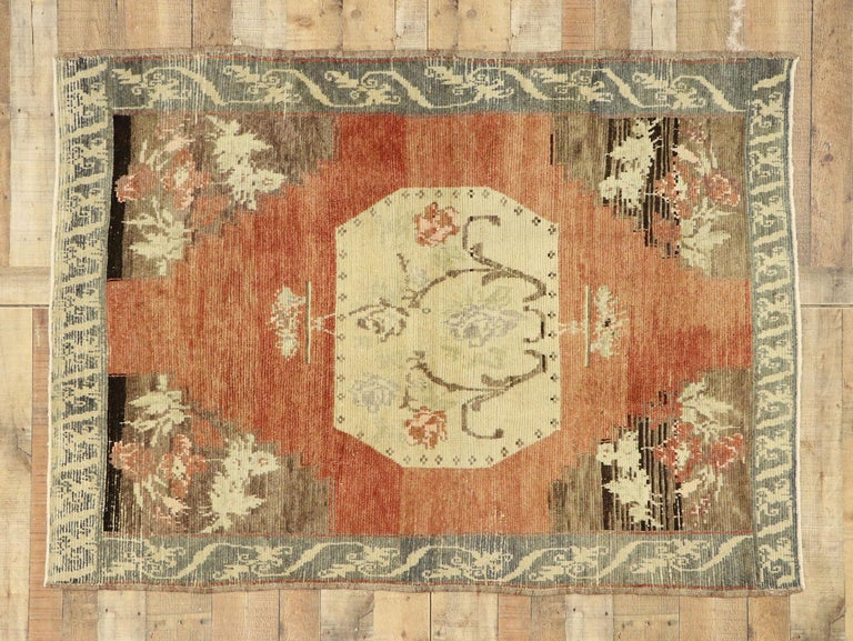 Distressed Vintage Turkish Oushak Accent Rug with Rustic Farmhouse Style 1