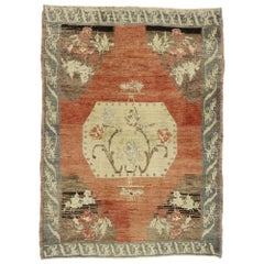 Distressed Vintage Turkish Oushak Accent Rug with Rustic Farmhouse Style