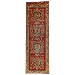 Distressed Vintage Turkish Oushak Hallway Runner with Rustic Baroque Style