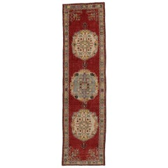 Distressed Vintage Turkish Oushak Hallway Runner with Rustic French Rococo Style