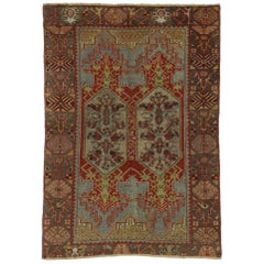 Distressed Vintage Turkish Oushak Rug for Kitchen, Bathroom, Foyer or Entry Rug