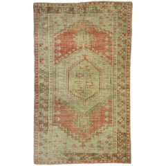 Distressed Vintage Turkish Oushak Rug Rustic Lodge and Tribal Style