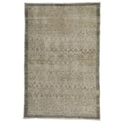Distressed Vintage Turkish Oushak Rug with British Colonial Style