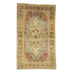 Distressed Vintage Turkish Oushak Rug with Industrial and Rustic Jacobean Style