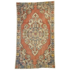 Distressed Vintage Turkish Oushak Rug with Industrial Art Deco Style