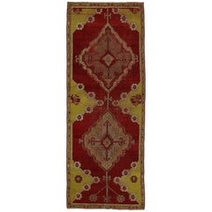 Distressed Vintage Turkish Oushak Rug with Jacobean Style, Foyer or Entry Rug