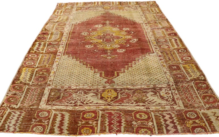 Hand-Knotted Distressed Vintage Turkish Oushak Rug with Modern Rustic Style For Sale