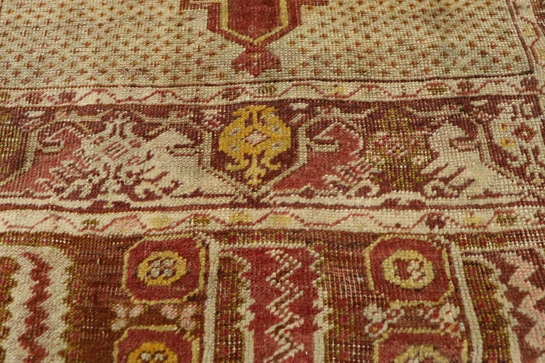 Distressed Vintage Turkish Oushak Rug with Modern Rustic Style In Distressed Condition For Sale In Dallas, TX