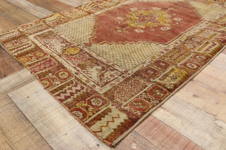 Wool Distressed Vintage Turkish Oushak Rug with Modern Rustic Style For Sale
