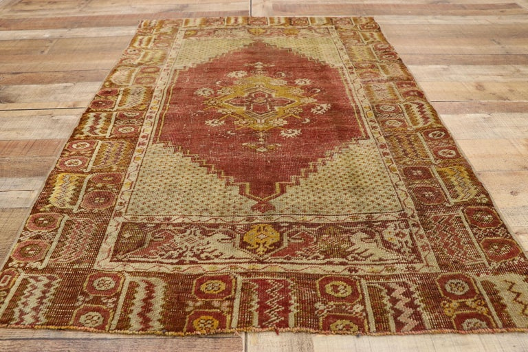 Distressed Vintage Turkish Oushak Rug with Modern Rustic Style For Sale 1