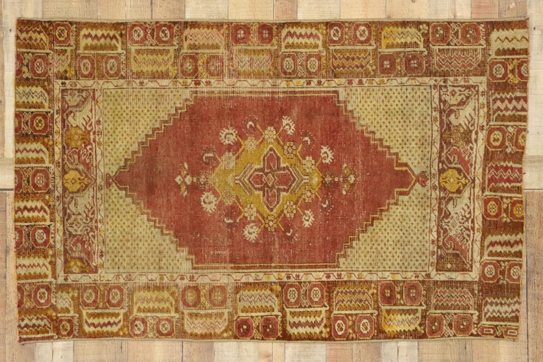 Distressed Vintage Turkish Oushak Rug with Modern Rustic Style For Sale 2