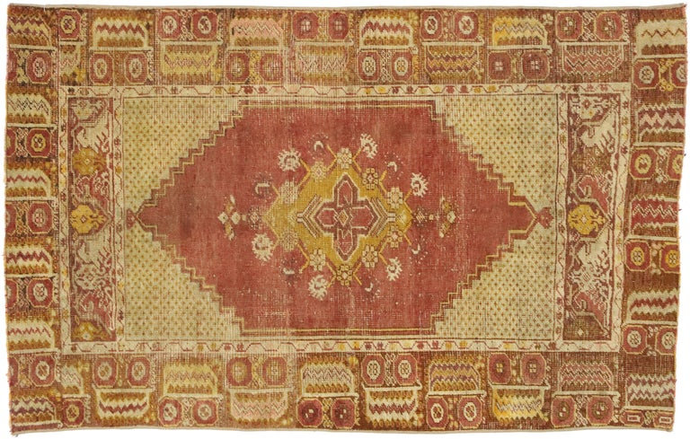 Distressed Vintage Turkish Oushak Rug with Modern Rustic Style For Sale 3