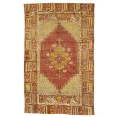 Distressed Vintage Turkish Oushak Rug with Modern Rustic Style