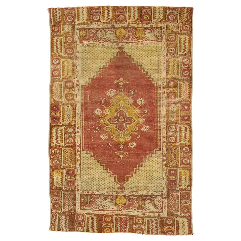 Distressed Vintage Turkish Oushak Rug with Modern Rustic Style For Sale