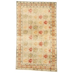Distressed Vintage Turkish Oushak Rug with Rustic Arts & Crafts Style