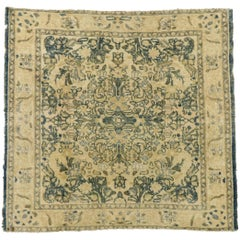 Distressed Vintage Turkish Oushak Rug with Rustic Cotswold English Manor Style