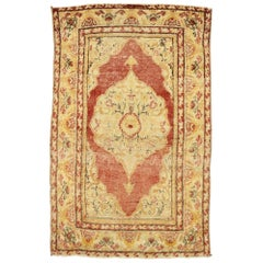 Distressed Vintage Turkish Oushak Rug with Rustic English Cottage Style