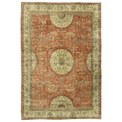 Distressed Vintage Turkish Oushak Rug with Rustic English Manor Style