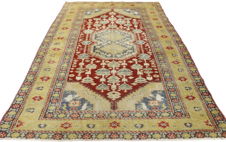 Hand-Knotted Distressed Vintage Turkish Oushak Rug with Rustic Modern Lodge Style For Sale