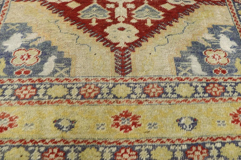 Distressed Vintage Turkish Oushak Rug with Rustic Modern Lodge Style In Distressed Condition For Sale In Dallas, TX