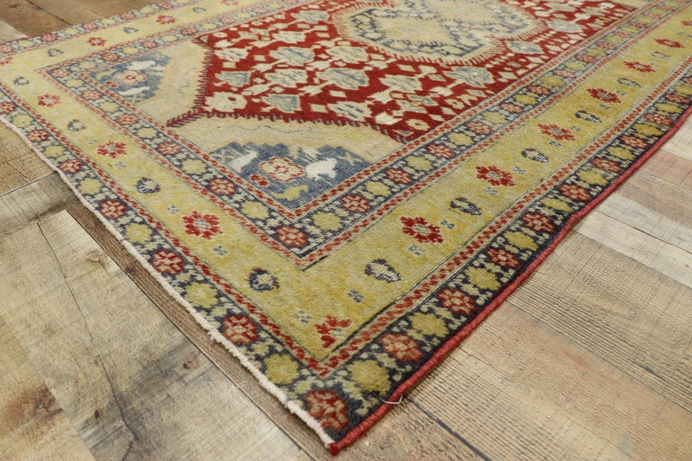 Wool Distressed Vintage Turkish Oushak Rug with Rustic Modern Lodge Style For Sale