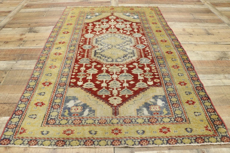 Distressed Vintage Turkish Oushak Rug with Rustic Modern Lodge Style For Sale 1
