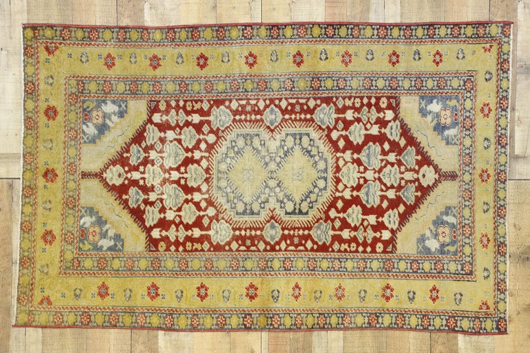 Distressed Vintage Turkish Oushak Rug with Rustic Modern Lodge Style For Sale 2