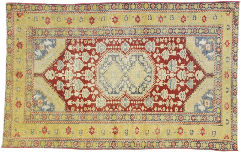 Distressed Vintage Turkish Oushak Rug with Rustic Modern Lodge Style For Sale 3