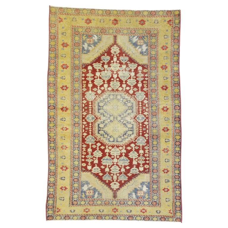 Distressed Vintage Turkish Oushak Rug with Rustic Modern Lodge Style For Sale