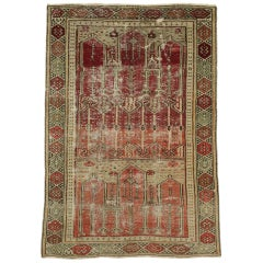 Distressed Vintage Turkish Oushak Rug with Rustic Style