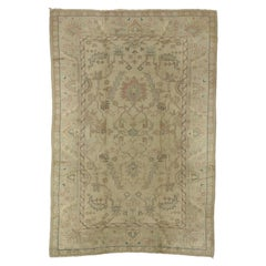 Distressed Vintage Turkish Oushak Rug with Shabby Chic Gustavian Bohemian Style