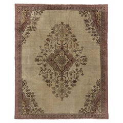 Distressed Vintage Turkish Oushak Rug with Shabby Chic Rococo Style