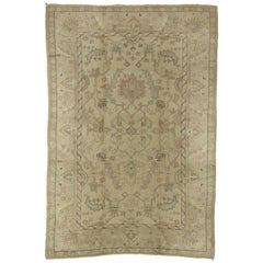Distressed Vintage Turkish Oushak Rug with Shabby Chic Rustic Georgian Style