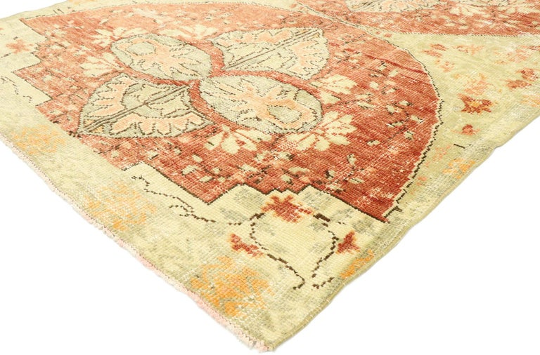 53150, distressed vintage Turkish Oushak rug with Swedish Farmhouse Cottage style. Effortless beauty and romantic connotations meet soft, bespoke vibes with a Swedish farmhouse cottage style in this hand knotted wool distressed vintage Turkish
