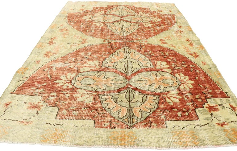 Hand-Knotted Distressed Vintage Turkish Oushak Rug with Swedish Farmhouse Cottage Style For Sale