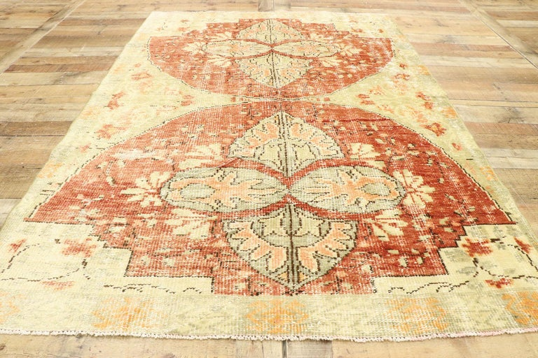 Distressed Vintage Turkish Oushak Rug with Swedish Farmhouse Cottage Style For Sale 1