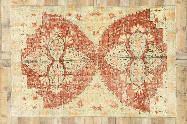 Distressed Vintage Turkish Oushak Rug with Swedish Farmhouse Cottage Style For Sale 2