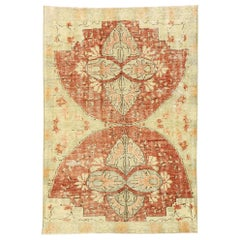 Distressed Vintage Turkish Oushak Rug with Swedish Farmhouse Cottage Style