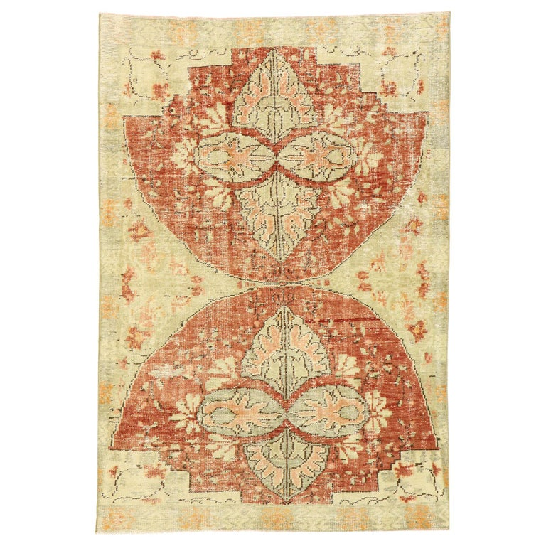 Distressed Vintage Turkish Oushak Rug with Swedish Farmhouse Cottage Style For Sale