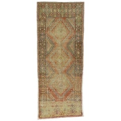Distressed Vintage Turkish Oushak Runner, Hallway Runner