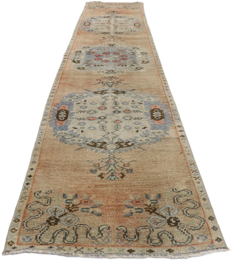 Hand-Knotted Distressed Vintage Turkish Oushak Runner, Narrow Hallway Runner For Sale