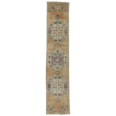 Distressed Vintage Turkish Oushak Runner, Narrow Hallway Runner