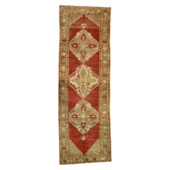 Distressed Vintage Turkish Oushak Runner with English Manor House Tudor Style
