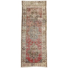 Distressed Vintage Turkish Oushak Runner with Industrial Style