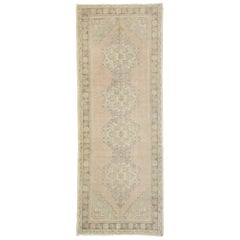 Distressed Vintage Turkish Oushak Runner with Romantic Georgian Style