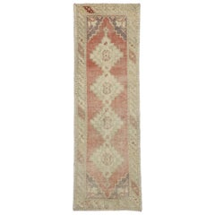 Distressed Vintage Turkish Oushak Runner with Romantic Rustic Style
