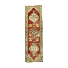 Distressed Vintage Turkish Oushak Runner with Rustic Lodge Style