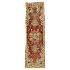 Distressed Vintage Turkish Oushak Runner with Rustic Neoclassical Style