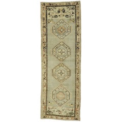 Distressed Vintage Turkish Oushak Runner with Rustic Prairie Style